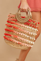 6 Infinite Options Pink Multi Pom Pom Handbag at reddress.com