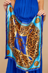 My Cheetah Heart Blue Multi Print Scarf