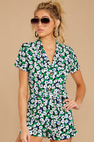 Floral Print Hidden Back Zipper Button Front Pocketed Belted Collared Notched Collar Short Sleeves Sleeves Tie Waist Waistline Romper