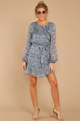 2 Often Adored Light Blue Floral Print Dress at reddressboutique.com