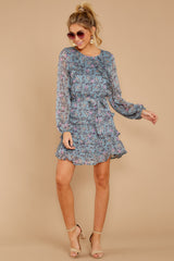 3 Often Adored Light Blue Floral Print Dress at reddressboutique.com