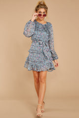 4 Often Adored Light Blue Floral Print Dress at reddressboutique.com