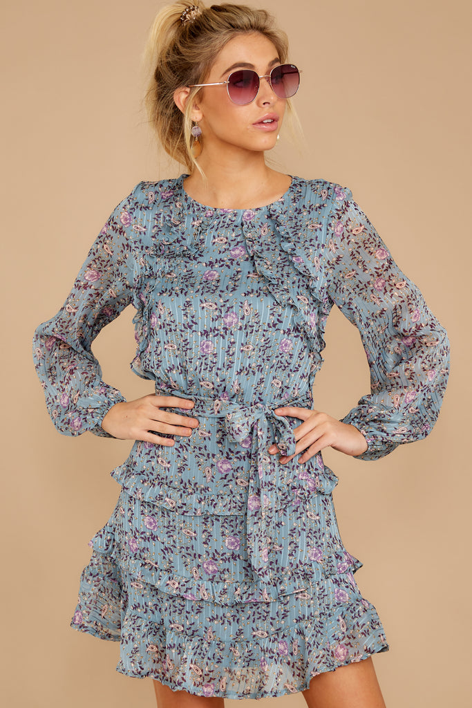 1 Oh So Sweet Light Blue Floral Print Dress at reddressboutique.com