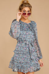 5 Often Adored Light Blue Floral Print Dress at reddressboutique.com