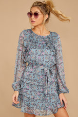 6 Often Adored Light Blue Floral Print Dress at reddressboutique.com