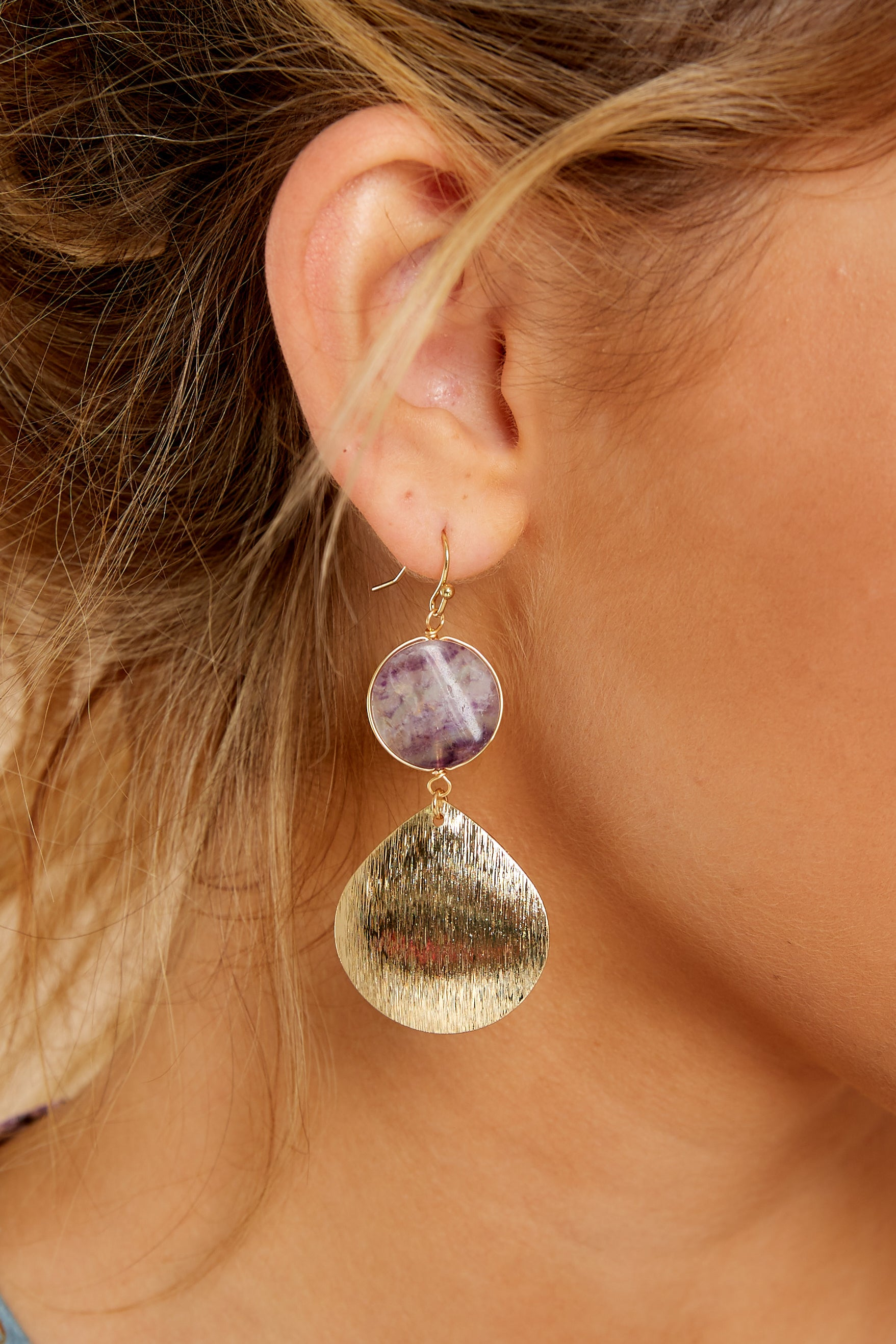 1 Natural Treasure Violet Multi Earrings at reddressboutique.com