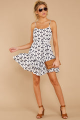 1 Leaf The Lines White And Navy Print Dress at reddressboutique.com