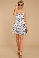 2 Leaf The Lines White And Navy Print Dress at reddressboutique.com