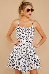 4 Leaf The Lines White And Navy Print Dress at reddressboutique.com