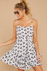 5 Leaf The Lines White And Navy Print Dress at reddressboutique.com