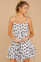 7 Leaf The Lines White And Navy Print Dress at reddressboutique.com