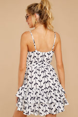 8 Leaf The Lines White And Navy Print Dress at reddressboutique.com