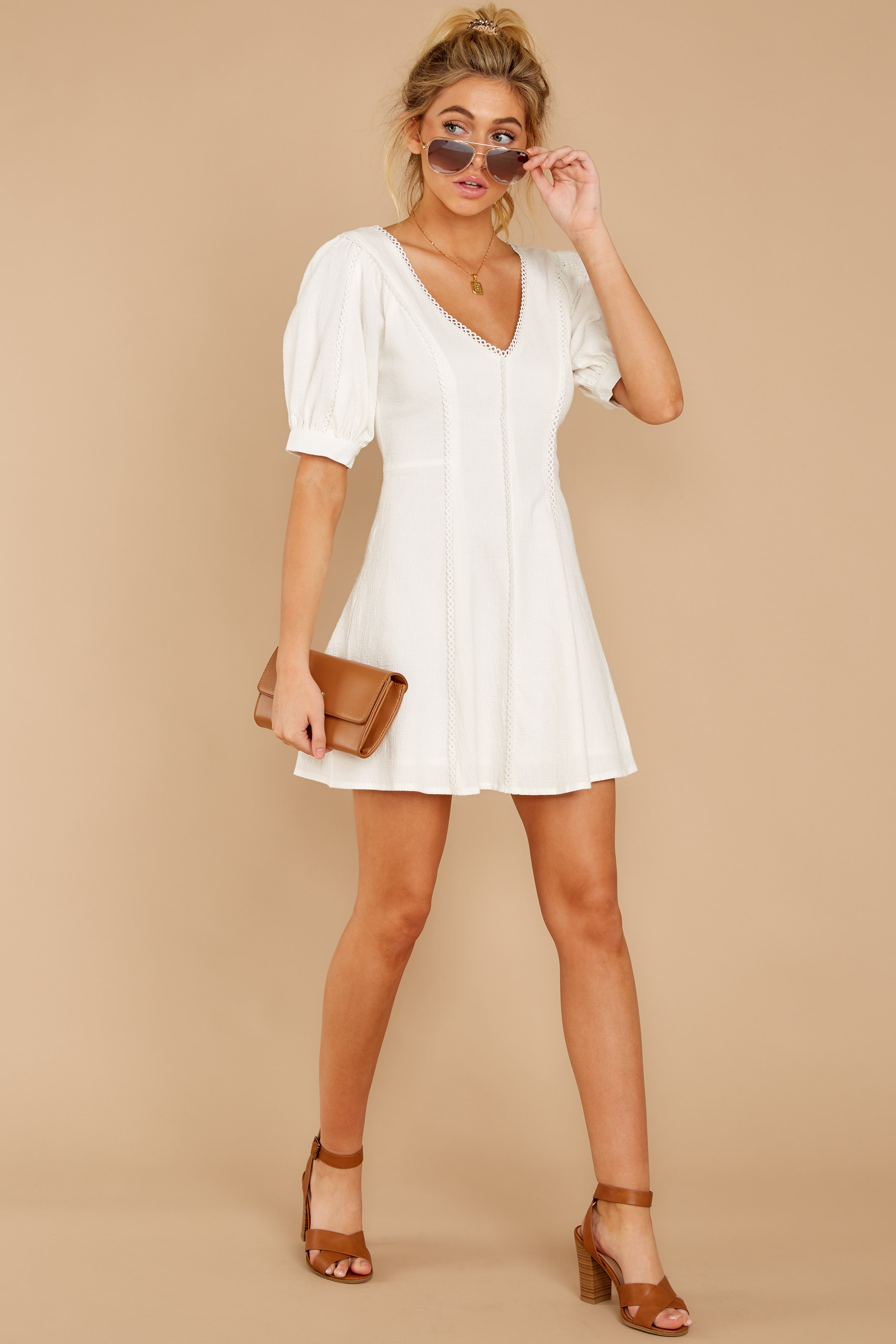 2 Stay Or Go White Dress at reddressboutique.com