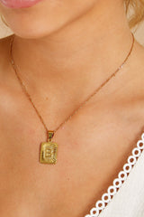 4 B Initial Card Gold Necklace at reddressboutique.com