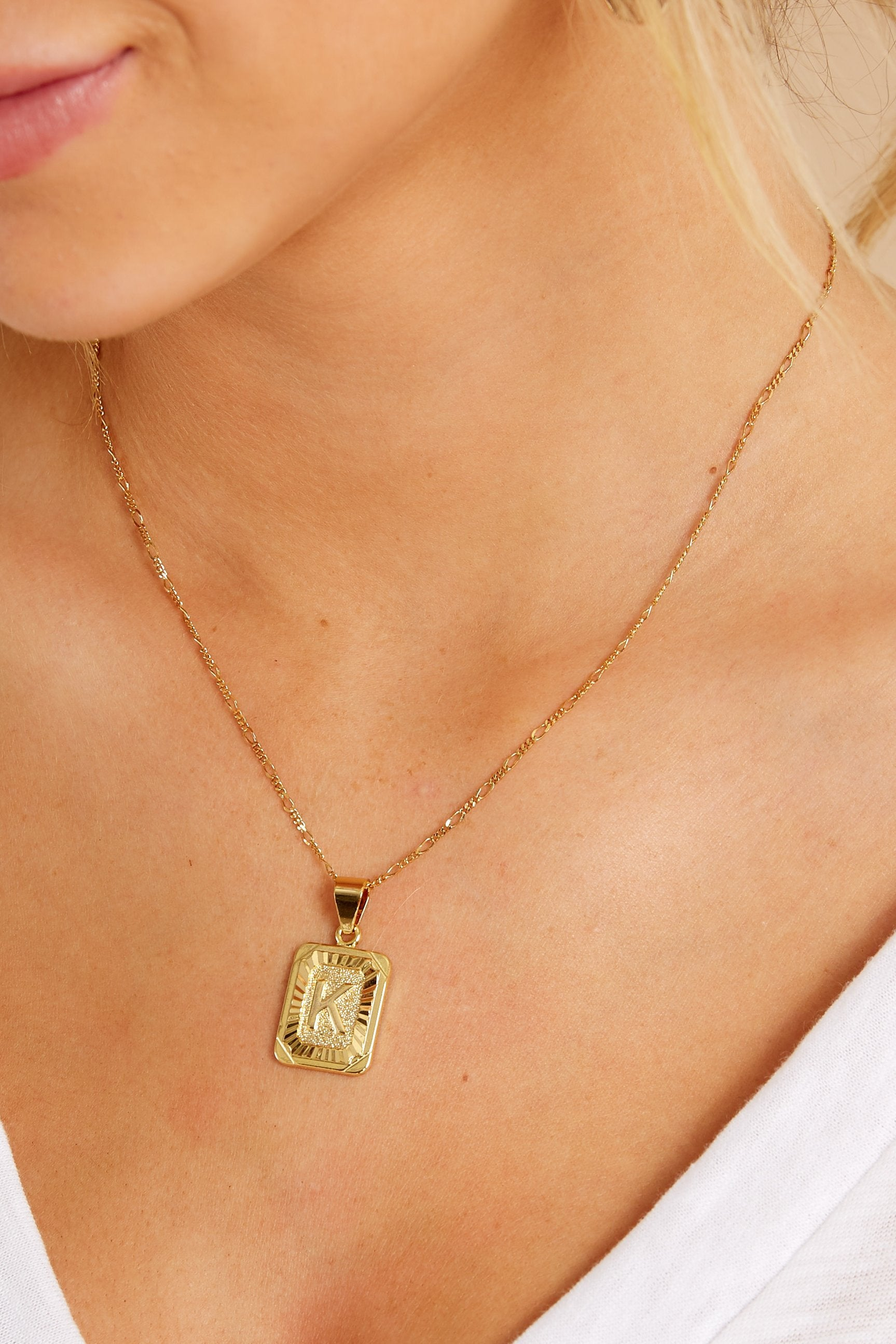 Initial Card K Gold Necklace