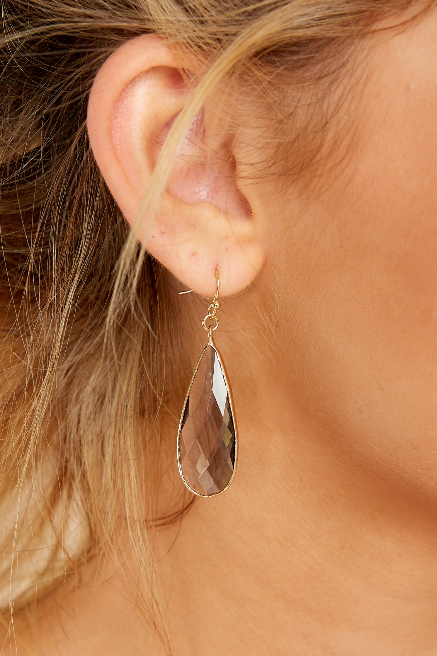 1 Without Warning Taupe Earrings at reddressboutique.com
