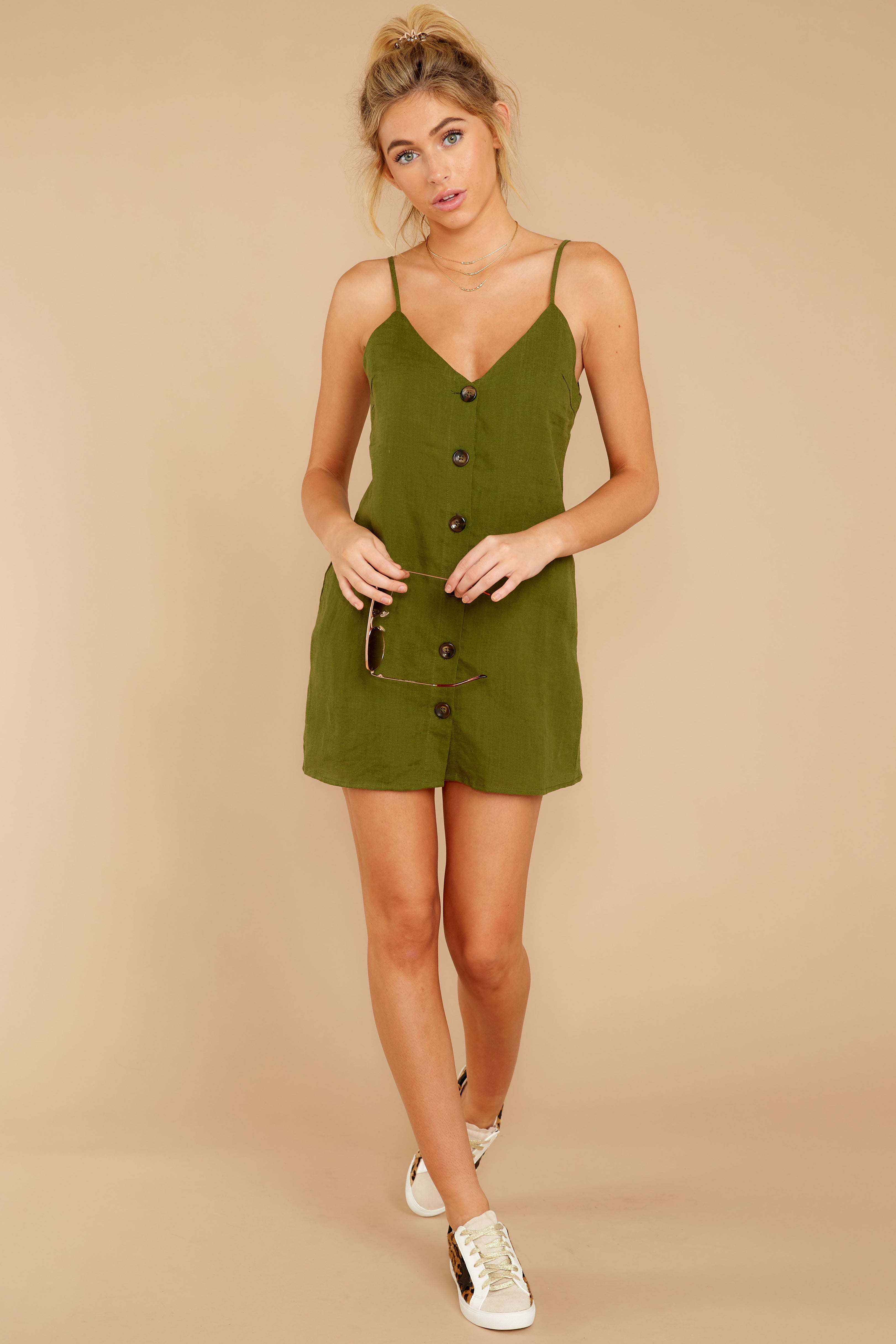 5 Never Wait Rosin Green Dress at reddressboutique.com