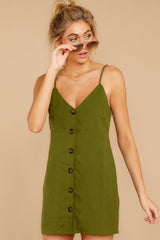 7 Never Wait Rosin Green Dress at reddressboutique.com