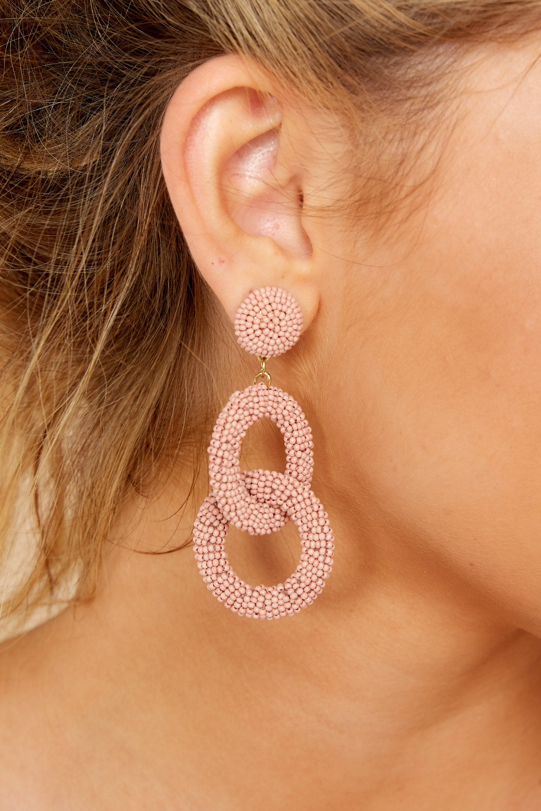 4 What Really Matters Blush Beaded Earrings at reddressboutique.com