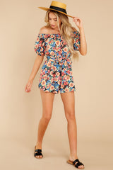2 Nothing Delicate Black Floral Print Romper at reddress.com