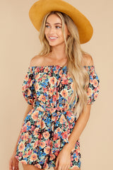 1 Nothing Delicate Black Floral Print Romper at reddress.com