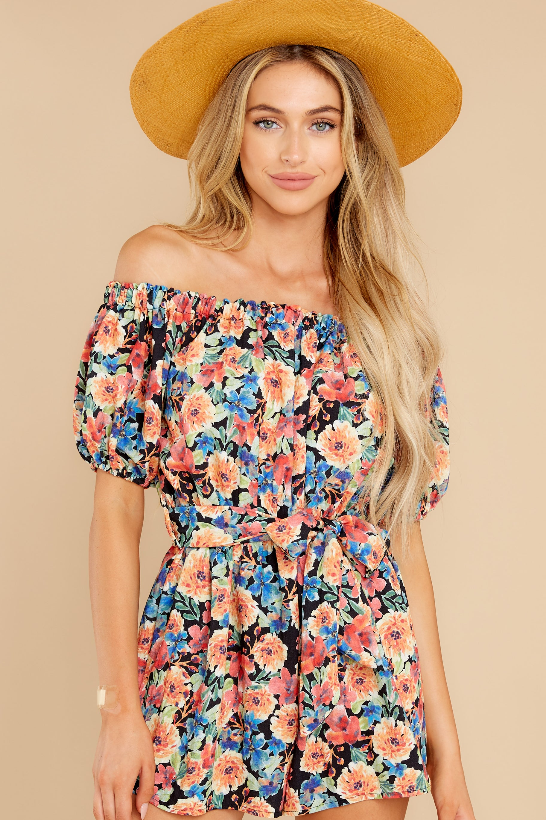 5 Nothing Delicate Black Floral Print Romper at reddress.com