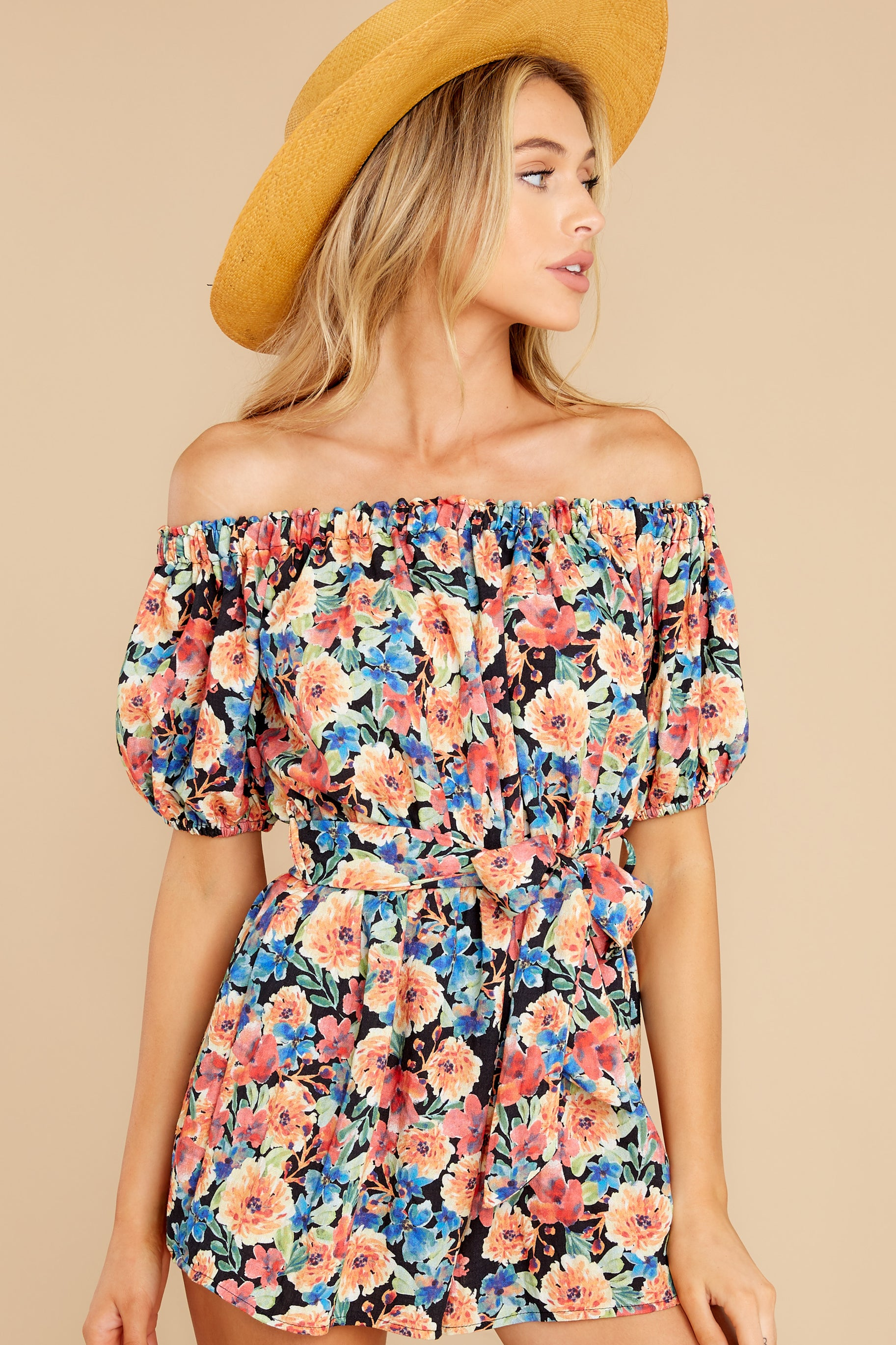 6 Nothing Delicate Black Floral Print Romper at reddress.com