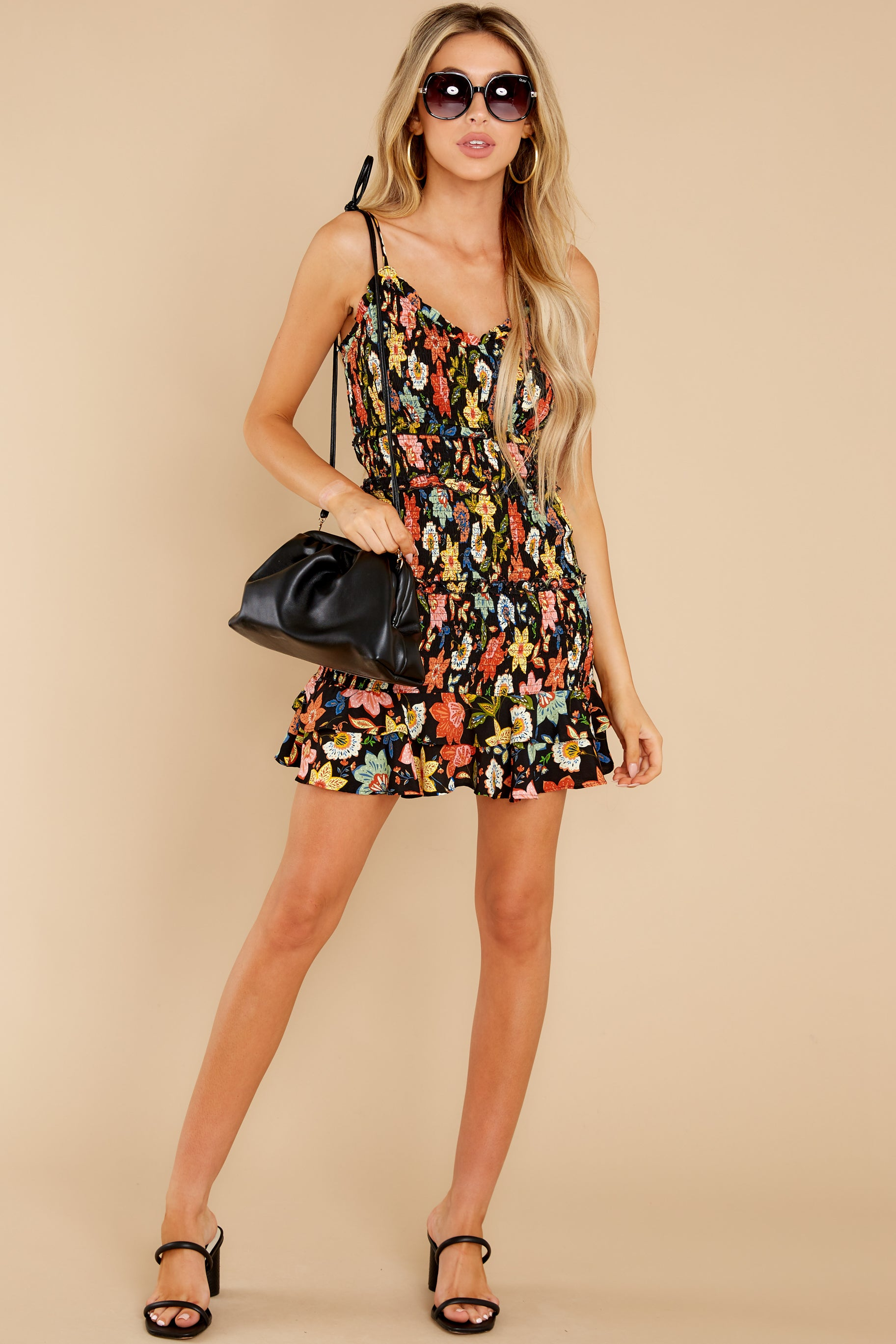 4 I'm Used To It Black Floral Print Dress at reddress.com