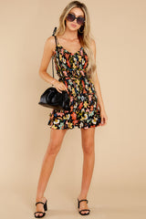 3 I'm Used To It Black Floral Print Dress at reddress.com