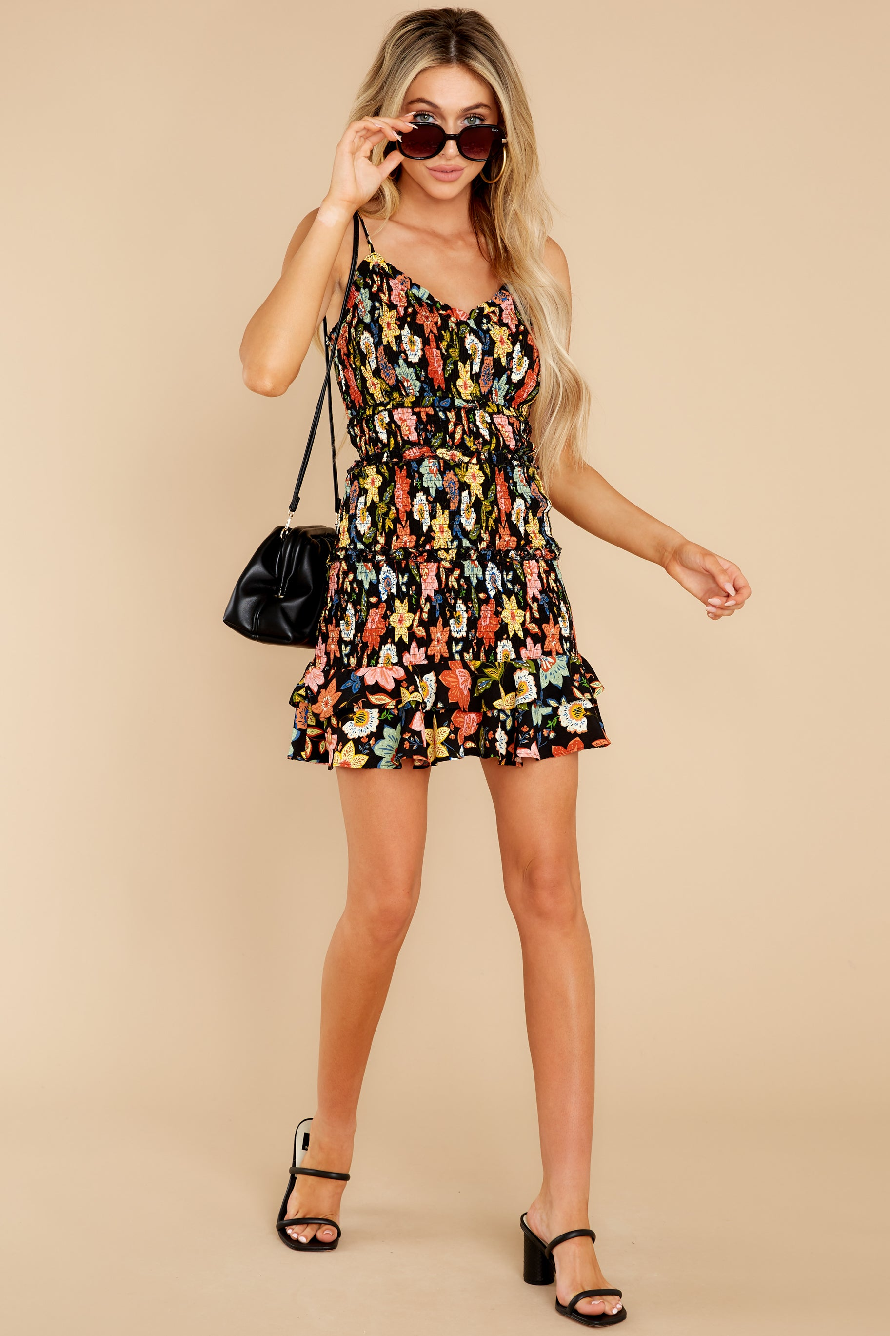 2 I'm Used To It Black Floral Print Dress at reddress.com