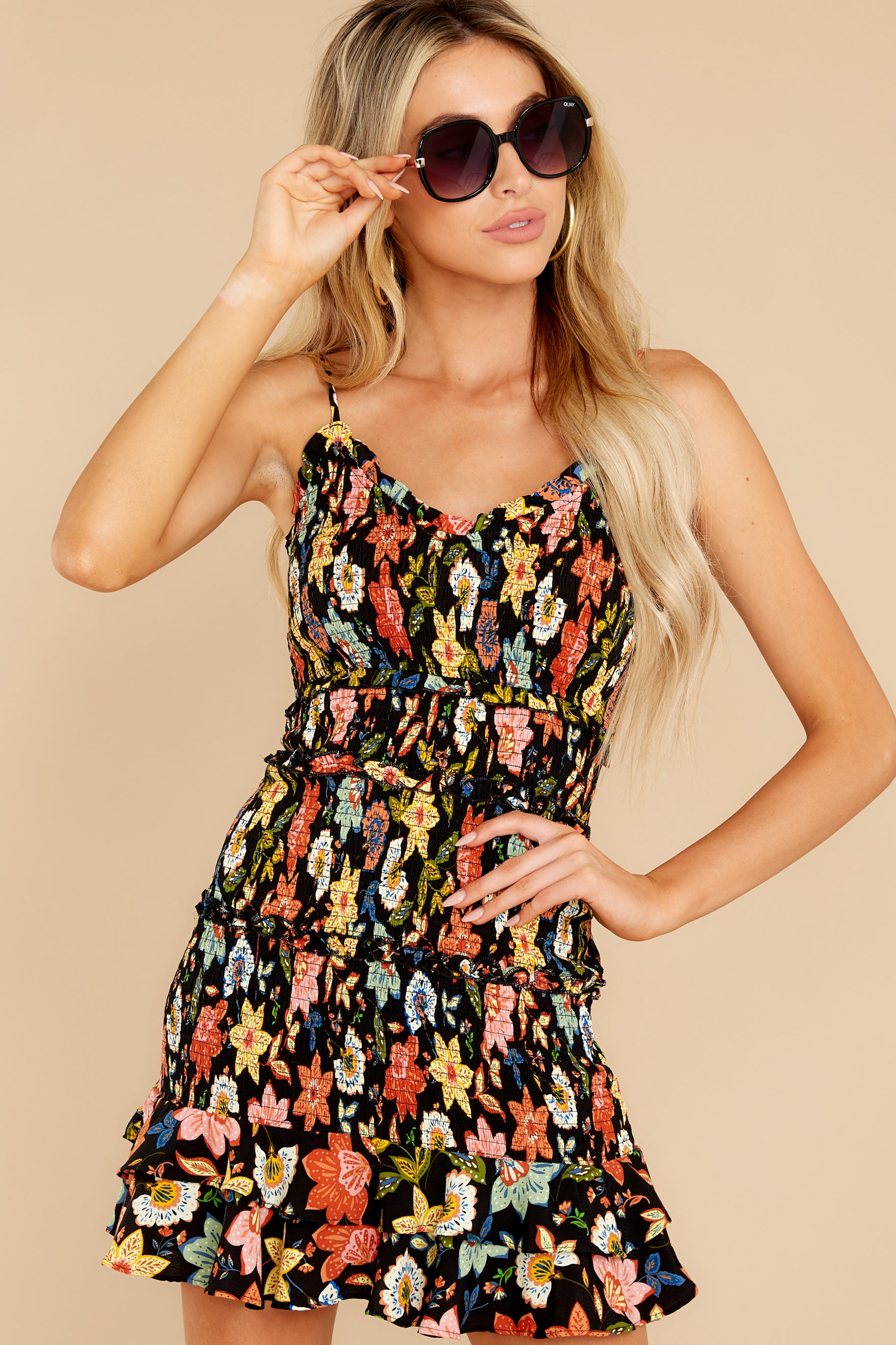 1 I'm Used To It Black Floral Print Dress at reddress.com