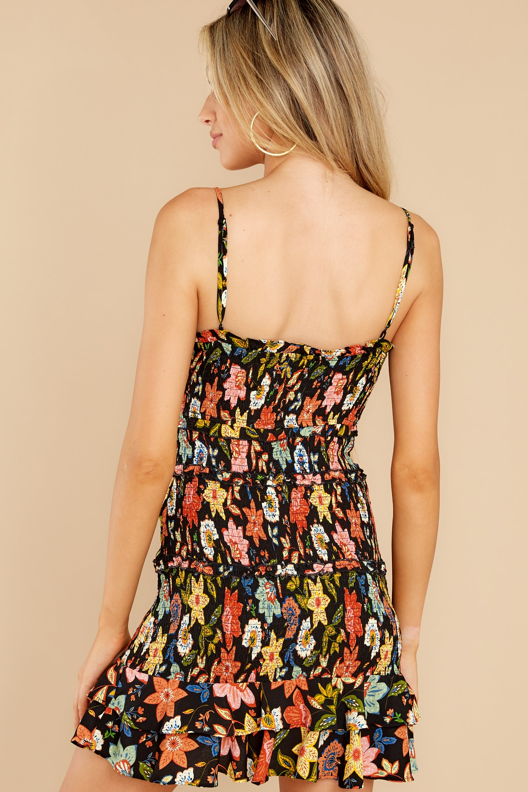 8 I'm Used To It Black Floral Print Dress at reddress.com