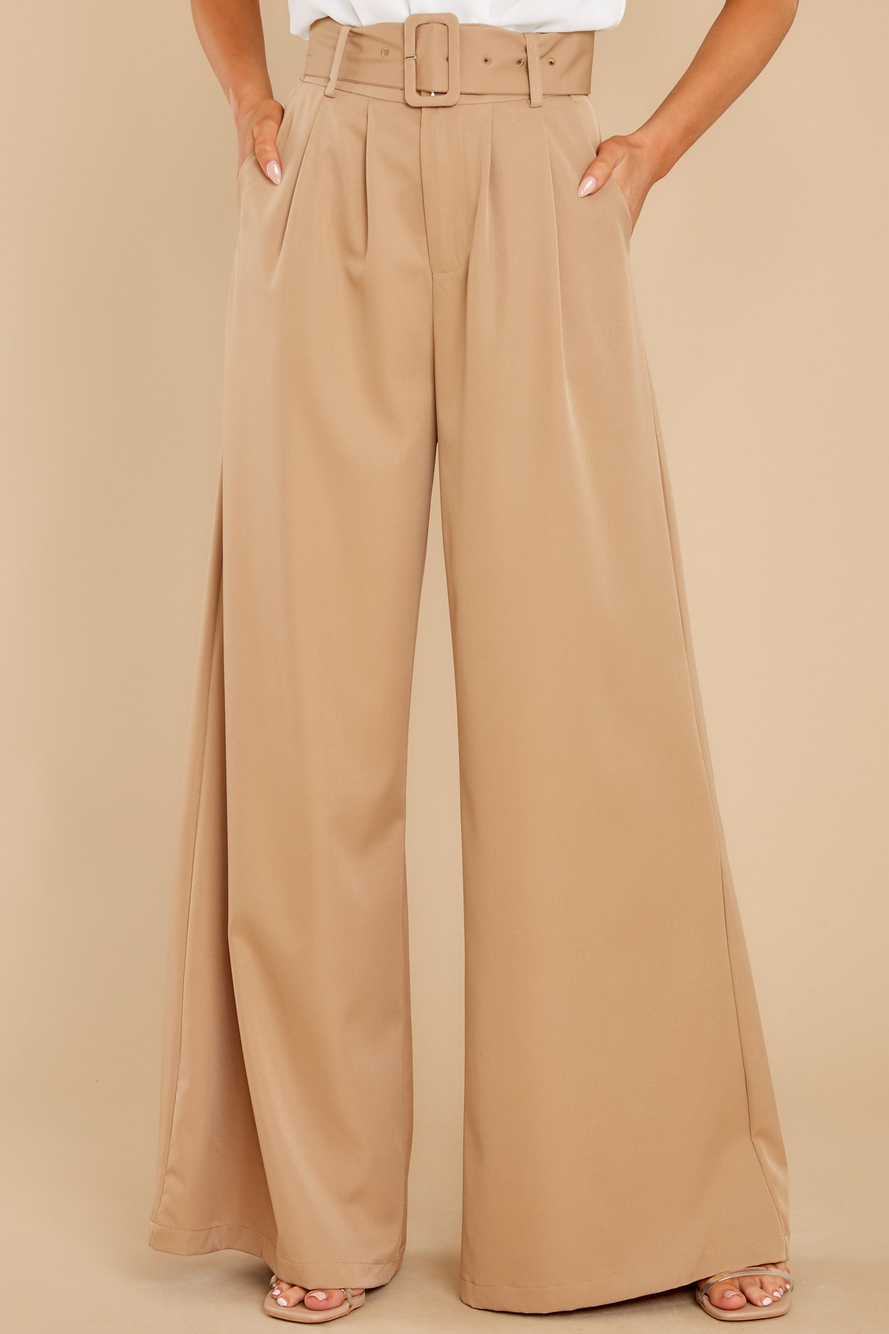 60s – 70s Pants, Jeans, Hippie, Bell Bottoms, Jumpsuits State The Facts Taupe Pants Beige $44.00 AT vintagedancer.com