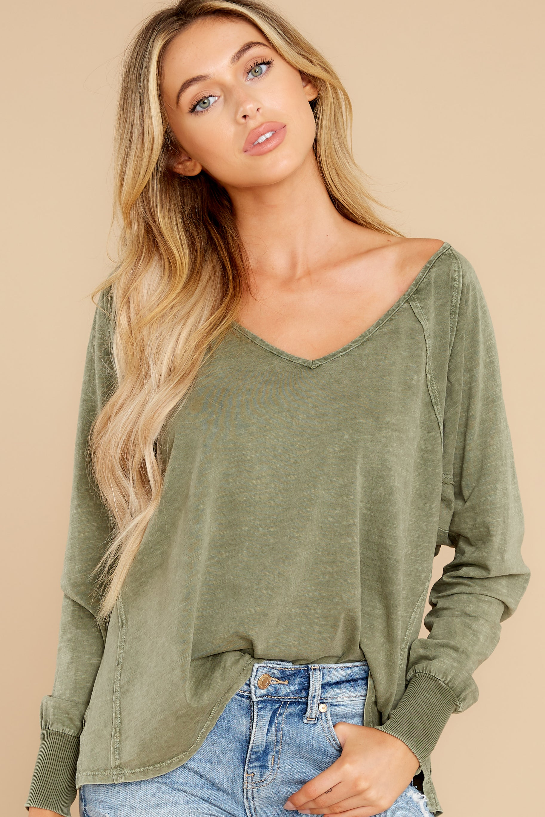 1 Procaffeinating Kind Olive Top at reddress.com