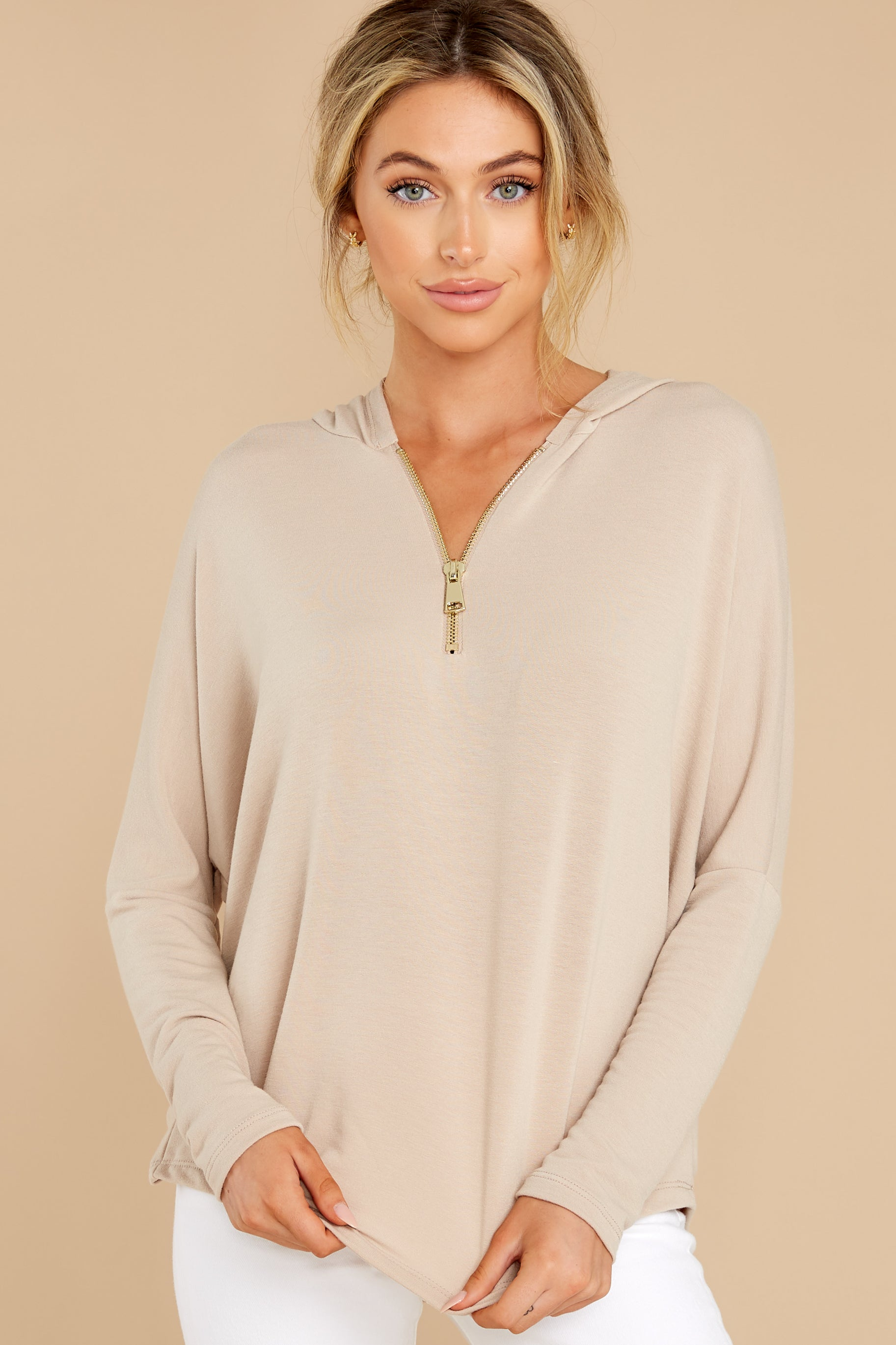 7 Updated Status Taupe Quarter Zip Hoodie at reddress.com