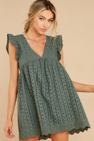 Tall V-neck Pocketed Keyhole Romper With Ruffles
