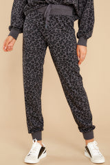 1 Ava Black Leopard Joggers at reddress.com
