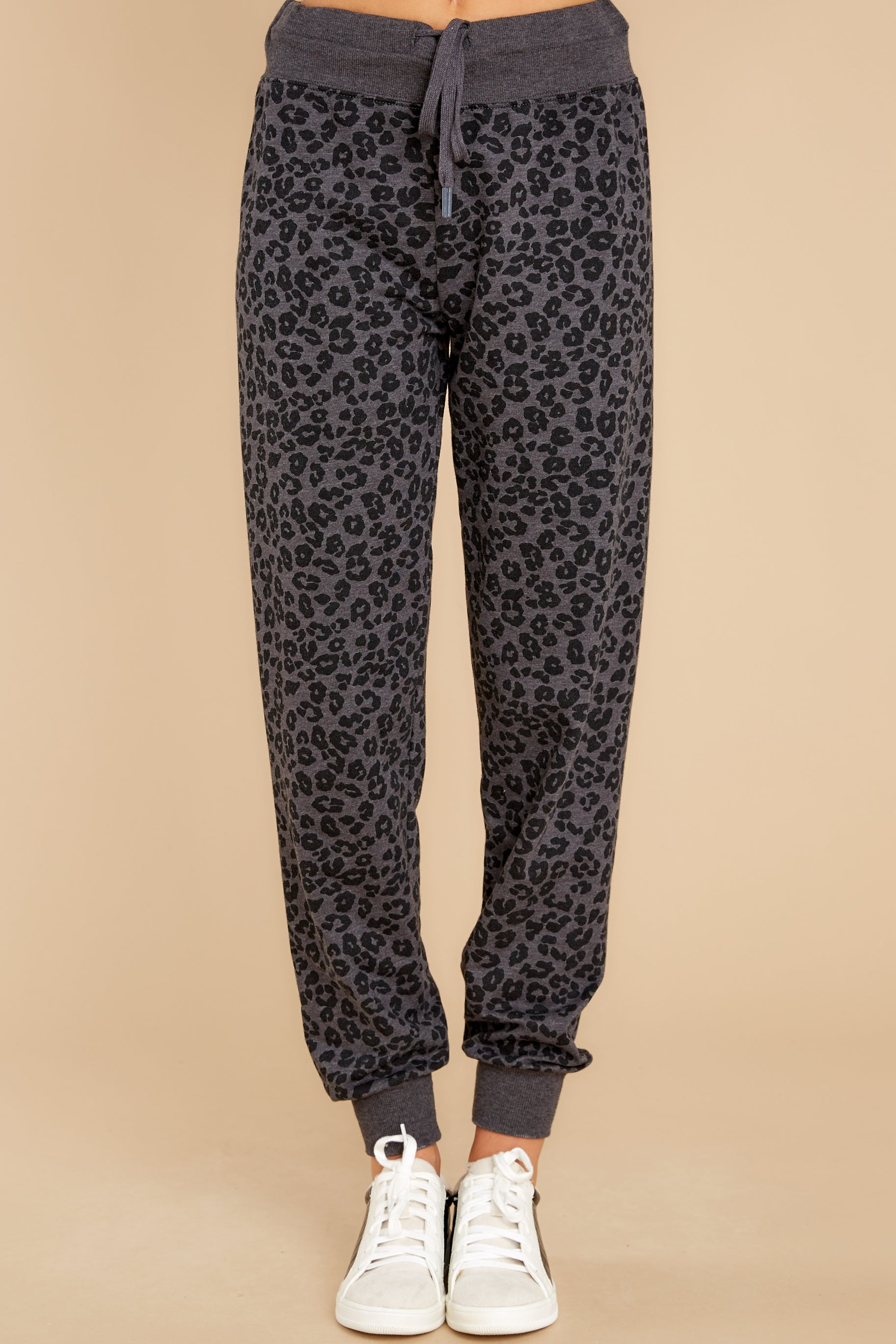 2 Ava Black Leopard Joggers at reddress.com