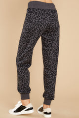3 Ava Black Leopard Joggers at reddress.com