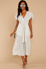 1918 All In The Papers Grey Stripe Jumpsuit at reddress.com