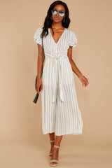 1919 All In The Papers Grey Stripe Jumpsuit at reddress.com
