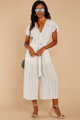 3 All In The Papers Grey Stripe Jumpsuit at reddressboutique.com