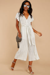 4 All In The Papers Grey Stripe Jumpsuit at reddressboutique.com