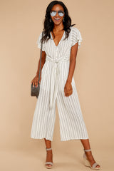 5 All In The Papers Grey Stripe Jumpsuit at reddressboutique.com