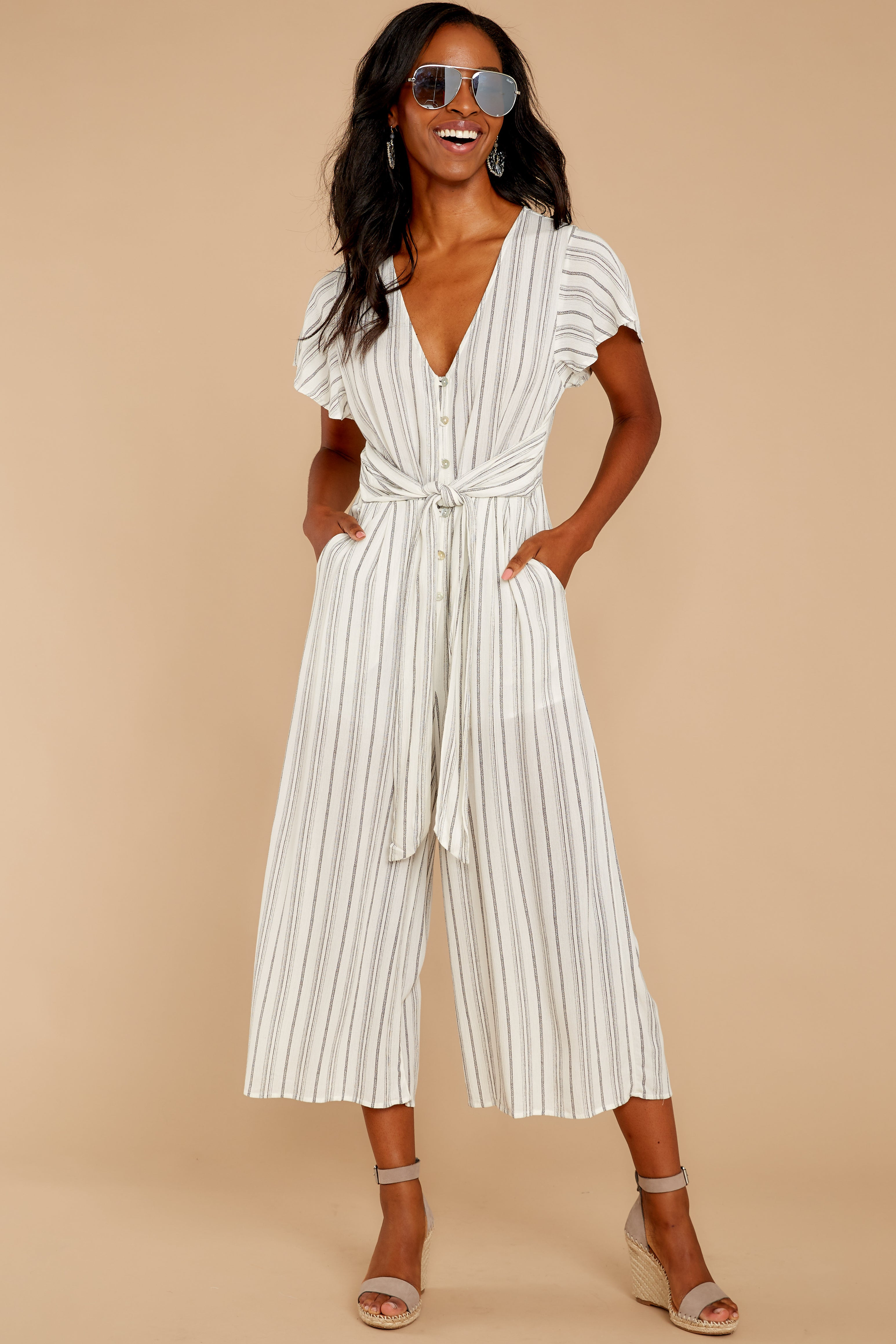 6 All In The Papers Grey Stripe Jumpsuit at reddressboutique.com