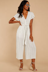 7 All In The Papers Grey Stripe Jumpsuit at reddressboutique.com