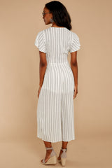 8 All In The Papers Grey Stripe Jumpsuit at reddressboutique.com