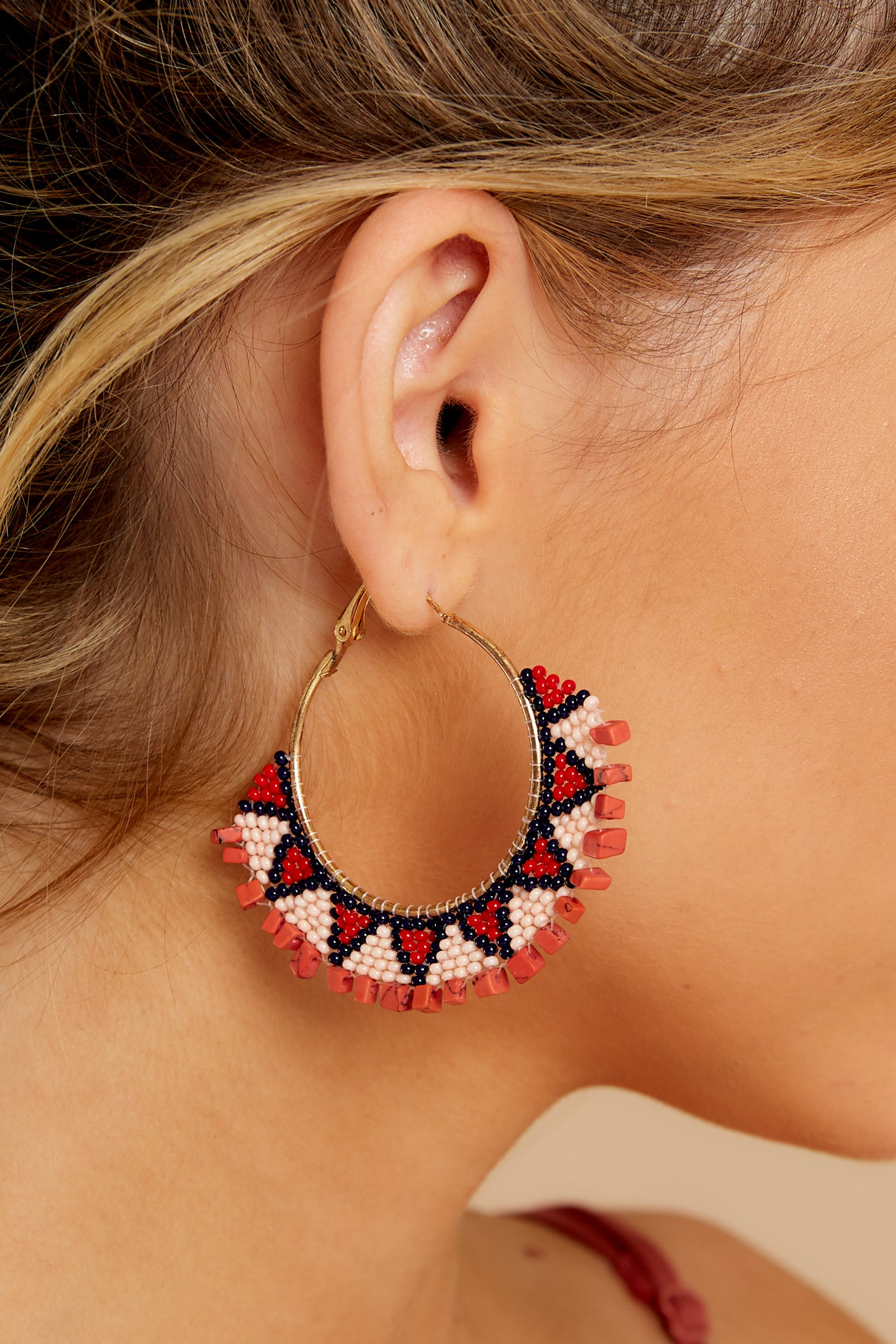 1 Point Made Red Multi Earrings at reddressboutique.com