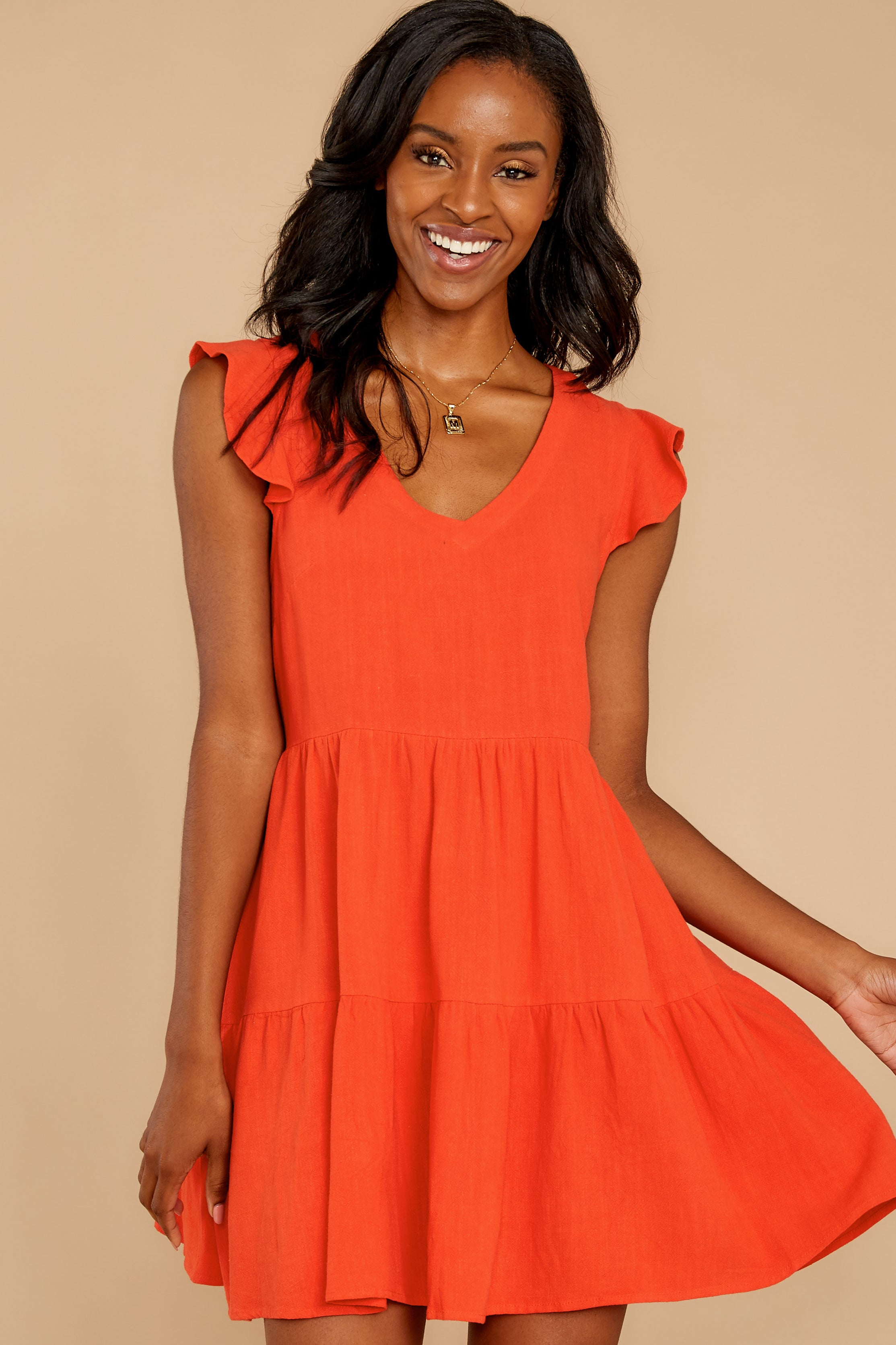 7 Touch Of Sweet Tomato Orange Dress at reddressboutique.com