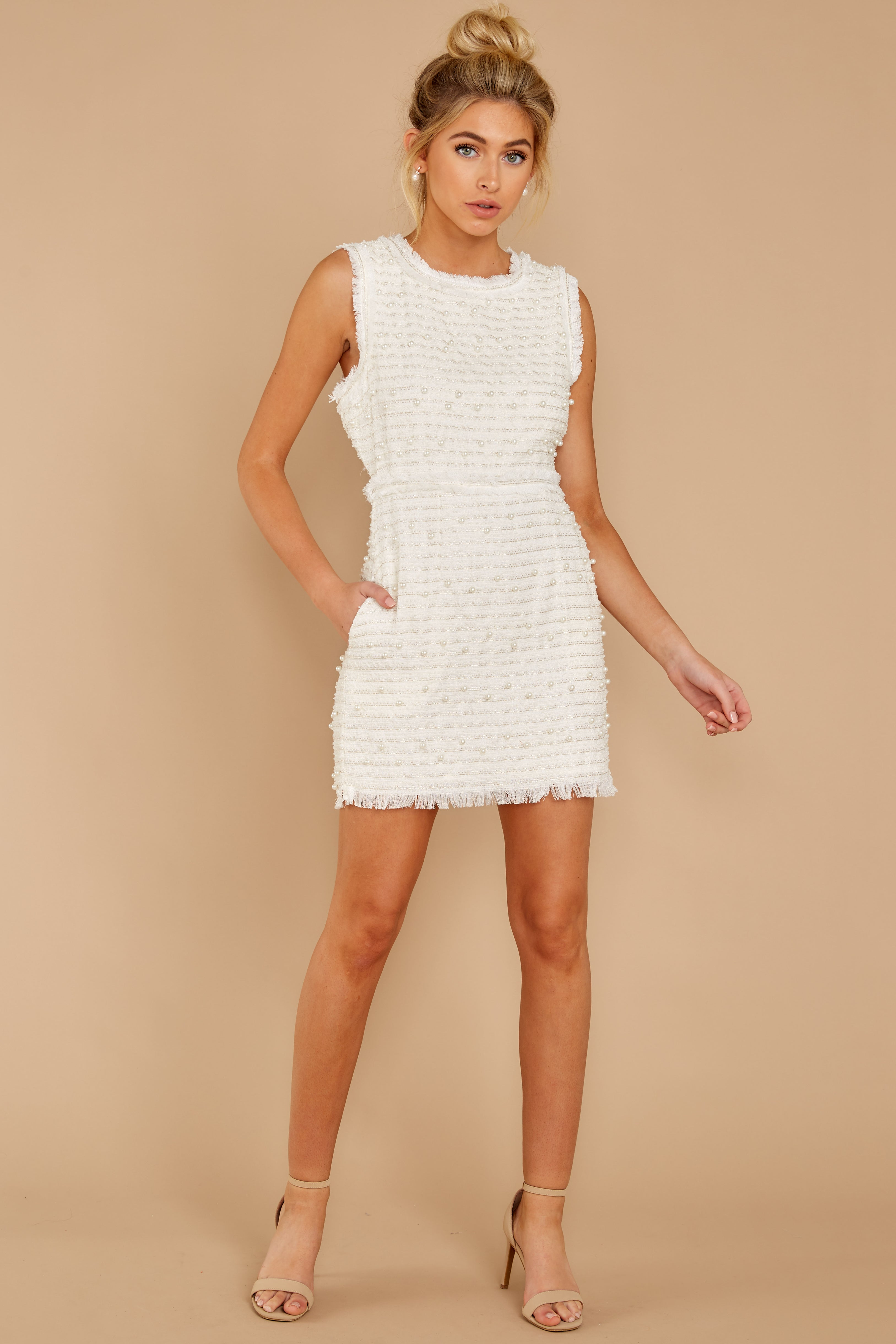2 Edge Of Perfection White Pearl Dress at reddress.com
